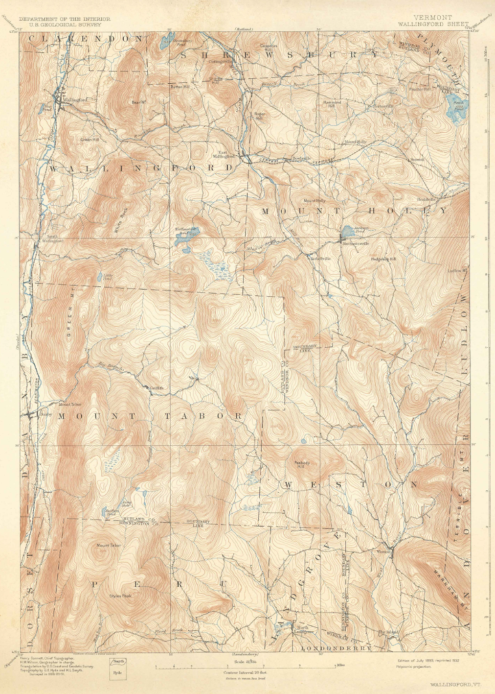 Wallingford, Mount Tabor, Vermont Map